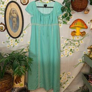 Teal blue high waist linen inset lace maxi dress